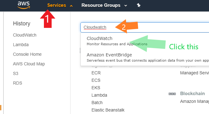 Image showing how to get to AWS CloudWatch. Click Services, Type in CloudWatch, click 'CloudWatch' link at top as first result.