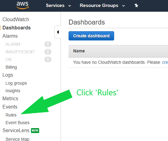 Image showing AWS CloudWatch button with Rules section highlighted by green arrow.