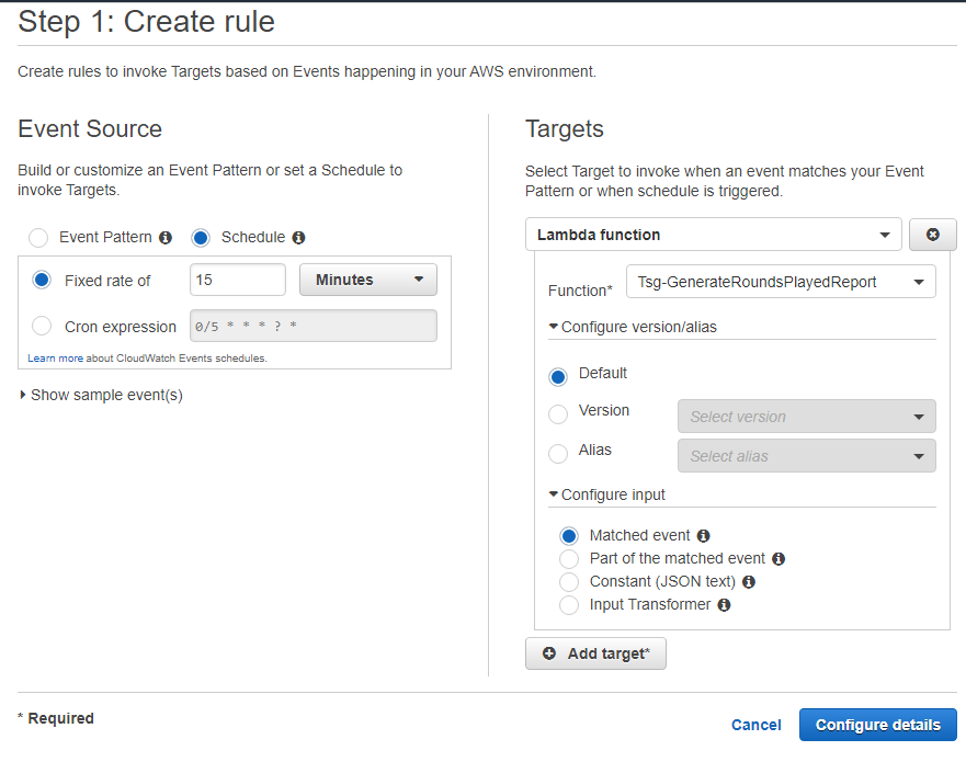 Screen showing create a rule in AWS CloudWatch Events