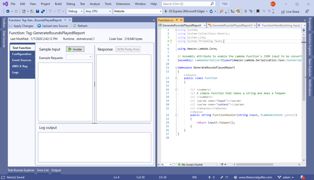 Visual Studio showing AWS SDK extension and example lambda for The Social Golfer.
