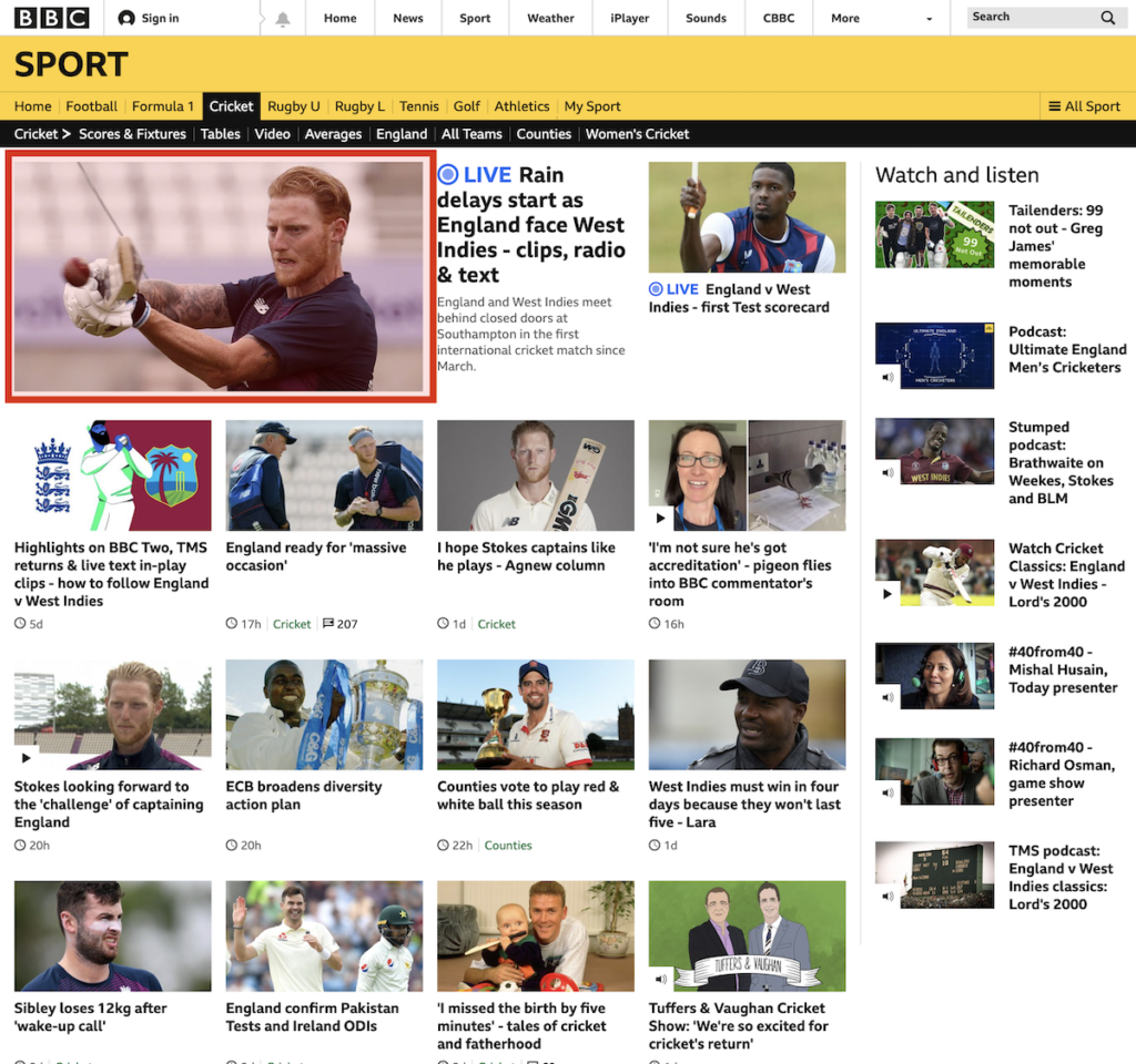 Image showing BBC Cricket and what the LCP object is